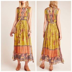 ✨ANTHROPOLOGIE Citron Embroidered Maxi Dress